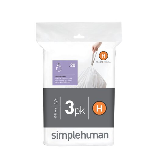 simplehuman Code H Custom Fit Liners (60 Count)