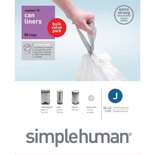 simplehuman 38-40 L / 10-10.5 Gal, Custom Fit Trash Can Liner J, 50-Count Box