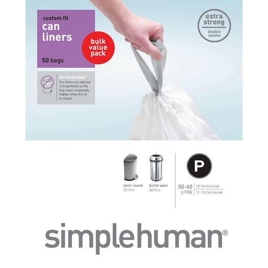 simplehuman 50-60 L / 14.5-16 Gal, Custom Fit Trash Can Liner P, 50-Count Box