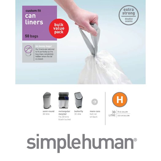simplehuman 30-35 L / 8-9 Gal, Custom Fit Trash Can Liner H, 50-Count Box