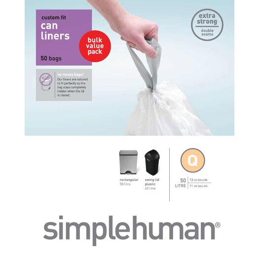 simplehuman 50-65 L / 13-17 Gal, Custom Fit Trash Can Liner Q, 50-Count Box
