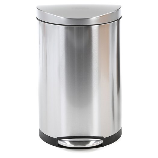 simplehuman 40 L / 10.5 Gal, Semi Round Step Trash Can, Stainless Steel