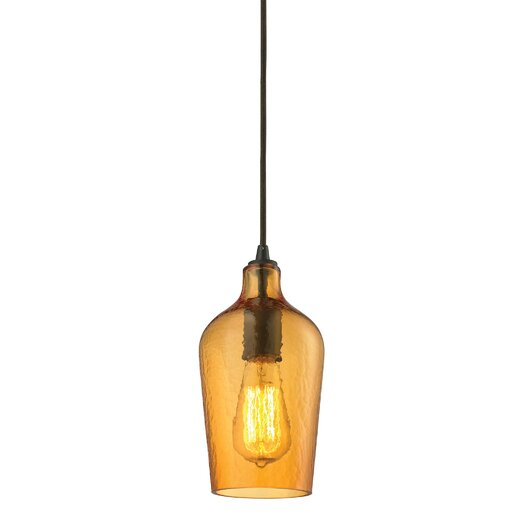Elk Lighting Hammered Glass 1 Light Mini Pendant