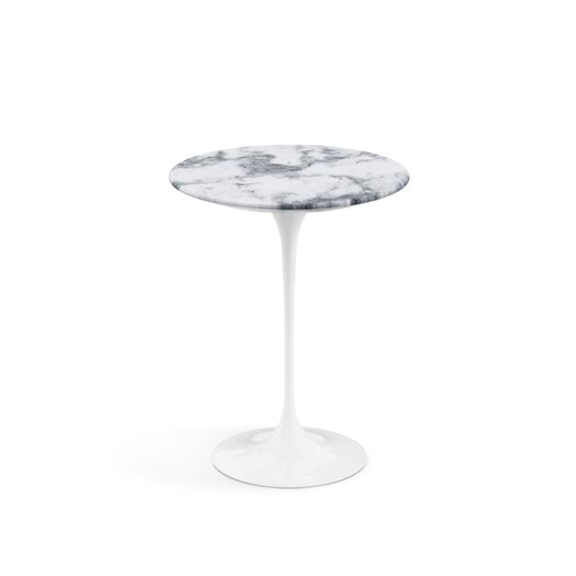 Saarinen Round Side Table in Satin Coated Carrara Marble