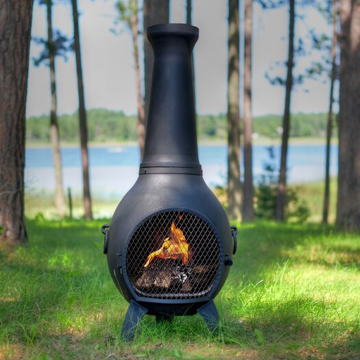 The Blue Rooster Aluminum Wood Prairie Chiminea