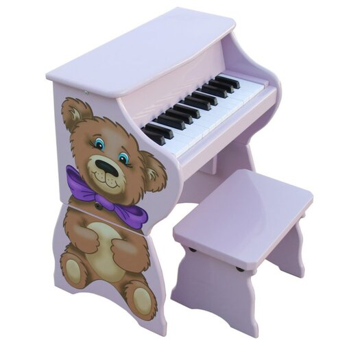 Schoenhut 25 Key Teddy Bear Piano & Bench in Lavender