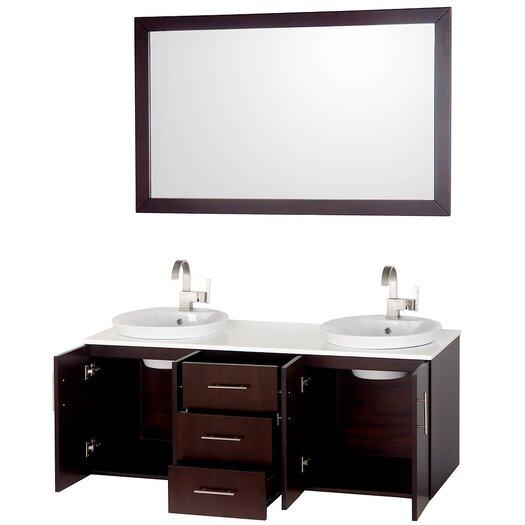 "Wyndham Collection Arrano 55"" Bathroom Vanity Set with Double Sink"