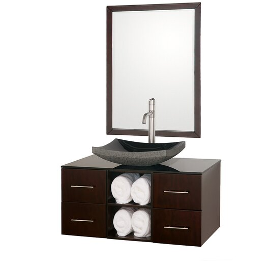 """Wyndham Collection Abba 36"""" Wall-Mounted Bathroom Vanity Set with Single Sink"""