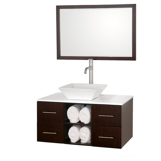"Wyndham Collection Abba 36"" Single Bathroom Vanity Set with Mirror"