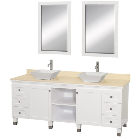 "Wyndham Collection Premiere 72"" Double Bathroom Vanity Set with Mirror"