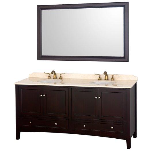 "Wyndham Collection Audrey 72"" Double Bathroom Vanity Set with Mirror"