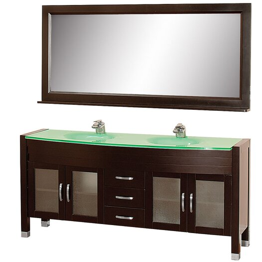 "Wyndham Collection Daytona 71"" Double Bathroom Vanity Set with Mirror"