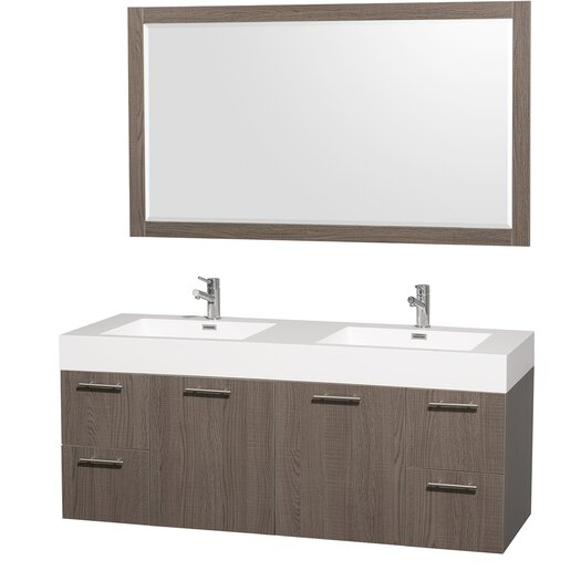 "Wyndham Collection Amare 60"" Bathroom Vanity Set with Double Sink"