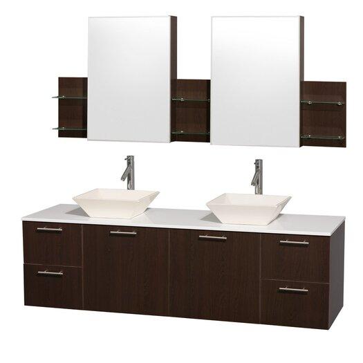 "Wyndham Collection Amare 72"" Double Bathroom Vanity Set with Mirror"