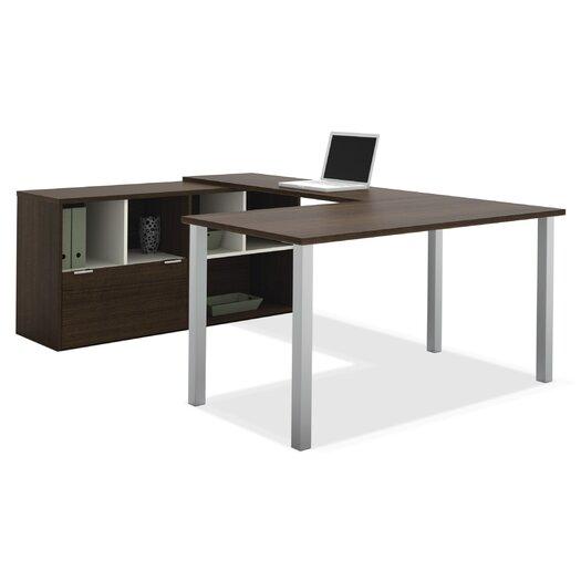 Bestar Contempo Writing Desk with Storage Hutch