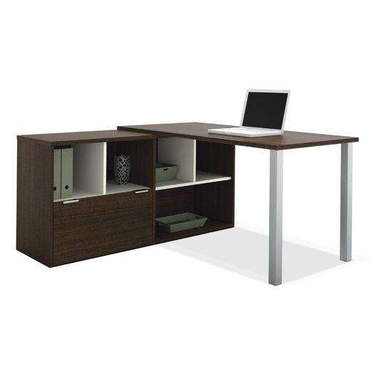 Bestar Contempo L-Shaped Writing Desk with Storage