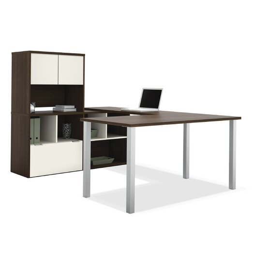 Bestar Contempo U-Shaped Writing Desk with Storage Hutch