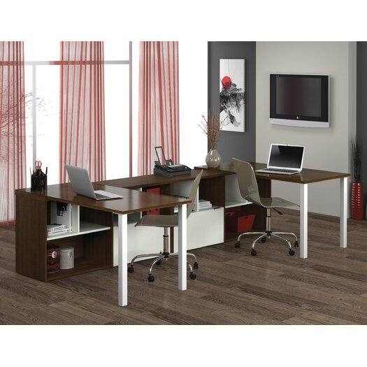 Bestar Contempo Double Credenza Desks with Storage