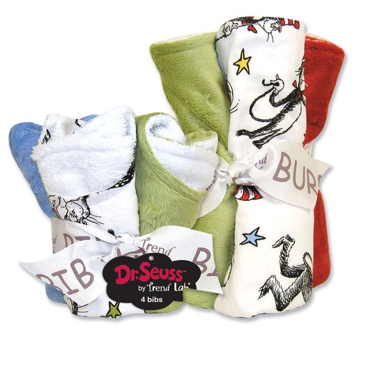 Trend Lab Dr Seuss Cat in the Hat Bib and Burp Cloth Set