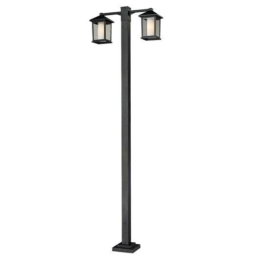 "Z-Lite Mesa 2 Light 99"" Aluminum Outdoor Post Lantern Set"