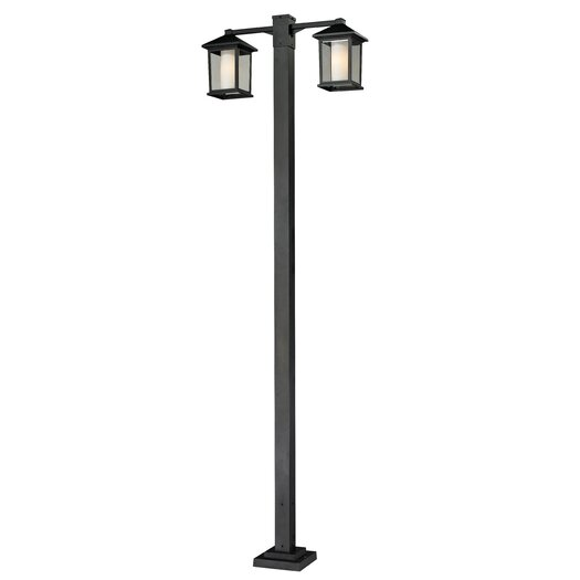 "Z-Lite Mesa 2 Light 99"" Aluminum Outdoor Post Lantern Set"