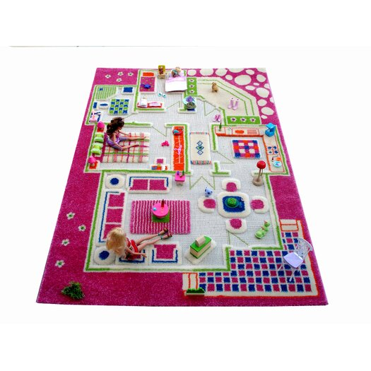 Luca and Company IVI Carpet - 3D Playhouse Pink Play Rug