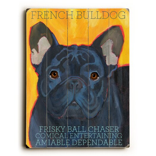 Artehouse LLC French Bulldog Black Wood Sign
