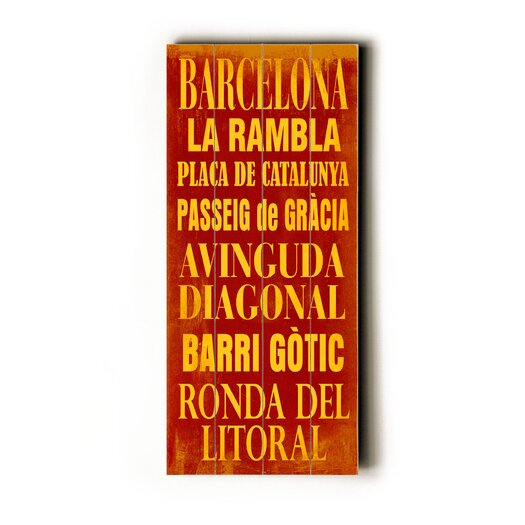 Artehouse LLC Barcelona Transit Textual Art Plaque