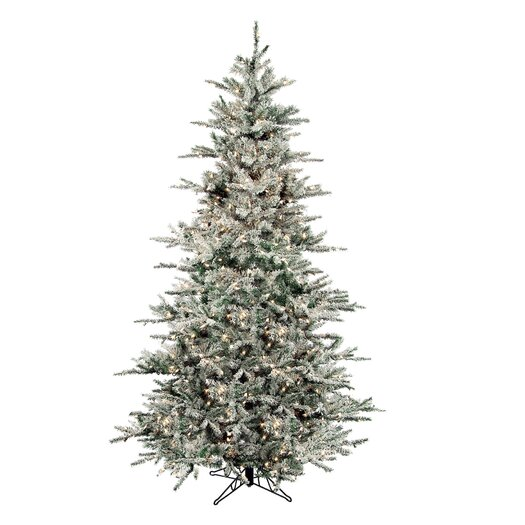 Regency International Flocked Vail 9' Green Artificial Christmas Tree with 1250 Prestrung Clear Lights