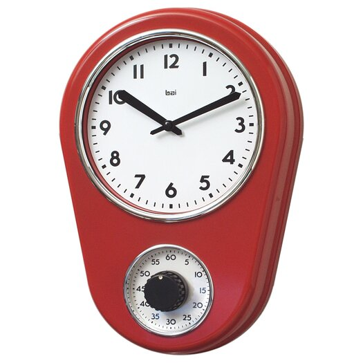 "Bai Design 8.5"" Kitchen Timer Retro Modern Wall Clock"