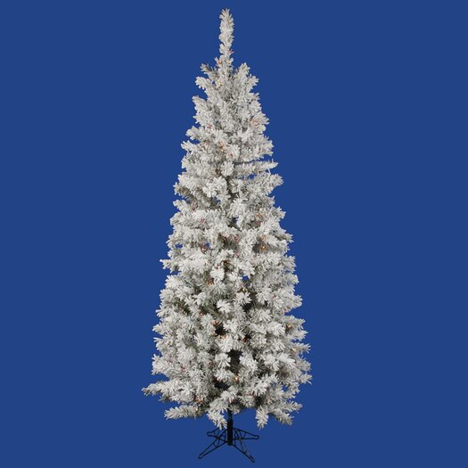 Vickerman Co. Flocked Pacific Pine 7.5' White Artificial Pencil Christmas Tree with 400 Multicolored Lights with Stand