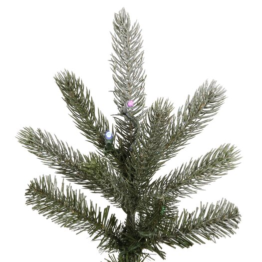 Vickerman Co. Frosted Frasier Fir 7.5' Green Artificial Christmas Tree with 440 Multicolored LED Lights with Stand