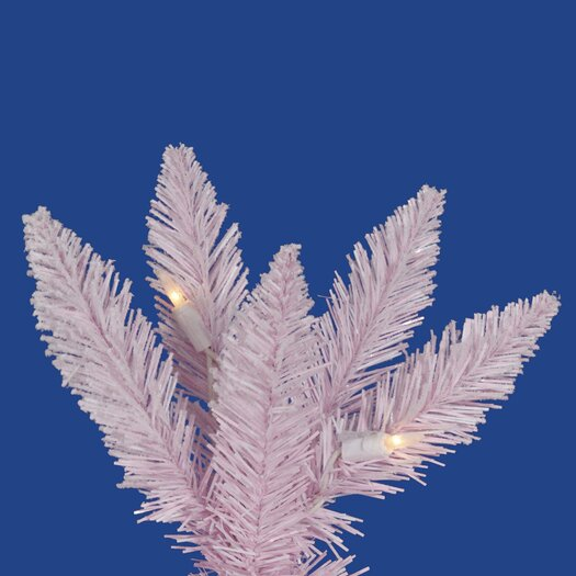 Vickerman Co. Flocked Pink Spruce 9' White Artificial Christmas Tree with 600 Clear Lights with Rolling Stand