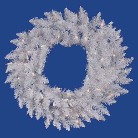 """Vickerman Co. Crystal White Spruce 60"""" Wreath with Clear Lights"""