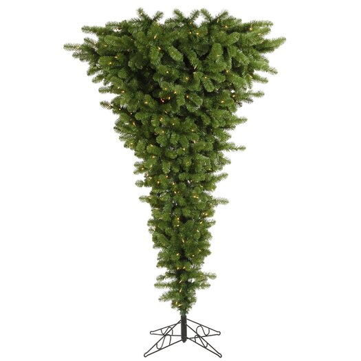 Vickerman Co. Upside Down 7.5' Green Artificial Christmas Tree with 500 Clear Lights with Stand