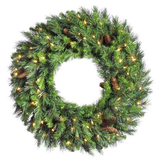"Vickerman Co. Cheyenne Pine 96"" Cheyenne Wreath with Clear Lights"