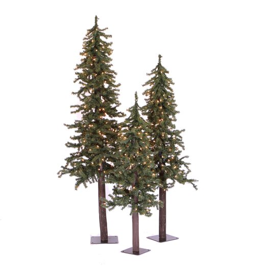 Vickerman Co. Natural Alpine Green Artificial Christmas Tree with 185 Multicolored Lights with Stand