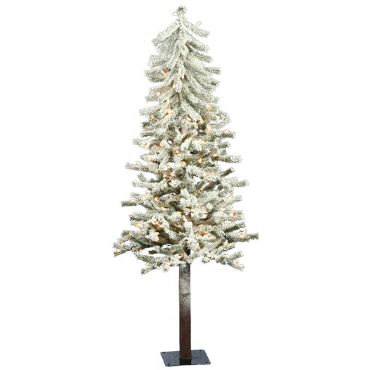 Vickerman Co. Flocked Alpine 5' White Artificial Christmas Tree with 150 Clear Lights