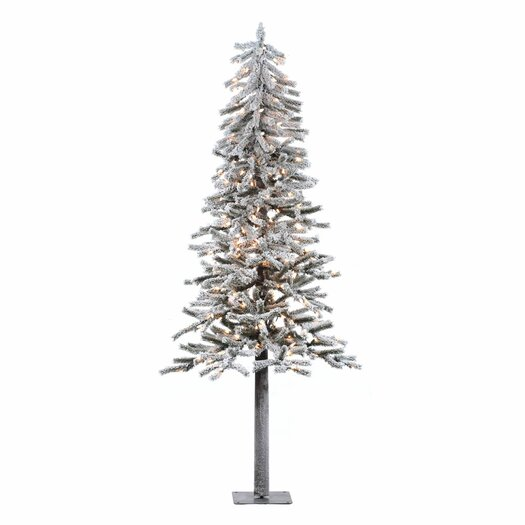 Vickerman Co. Flocked Alpine 7' White Artificial Christmas Tree with 300 Clear Lights