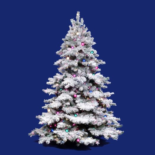 Vickerman Co. Flocked Alaskan 7.5' White Artificial Christmas Tree with 900 Multicolored Lights with Stand