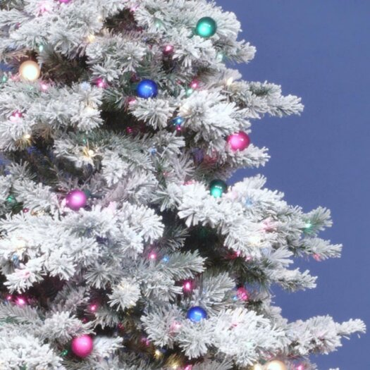 Vickerman Co. Flocked Alaskan 7.5' White Artificial Christmas Tree with 800 Multicolored Lights with Stand