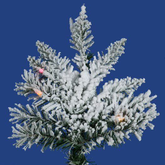 Vickerman Co. Flocked Utica Fir 6.5' White Artificial Christmas Tree with 275 Multicolored LED Lights with Stand