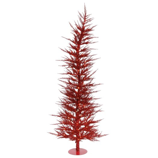 Vickerman Co. Colorful Laser 5' Red Artificial Christmas Tree with 100 Lights