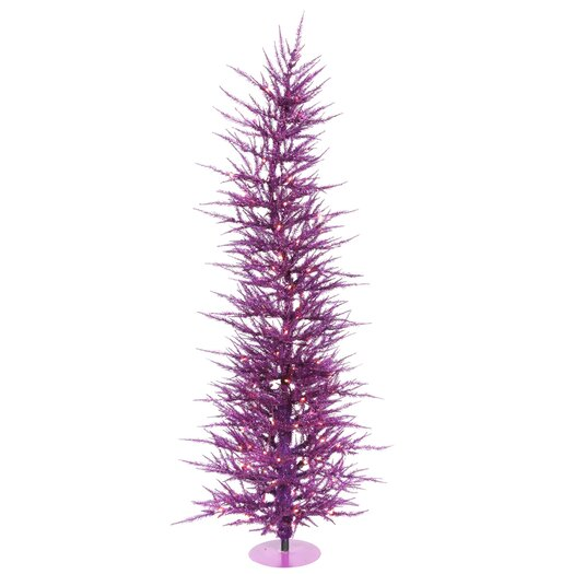 Vickerman Co. Purple Wreath and Garland 6' Purple Artificial Christmas Tree with 150 Purple Lights