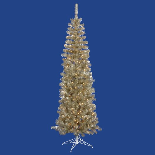 Vickerman Co. Champagne Pencil 9' Artificial Christmas Tree with 550 Clear Lights