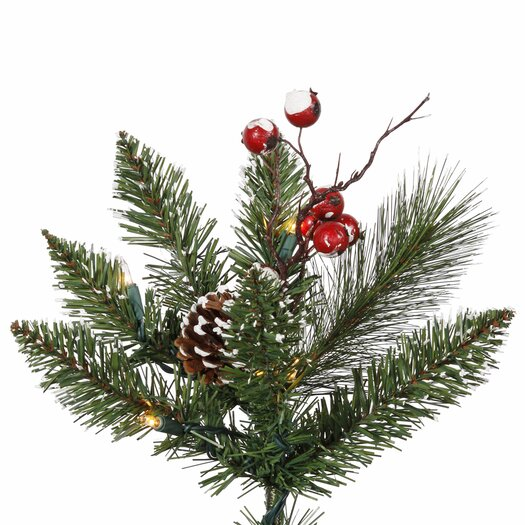 Vickerman Co. 9' Green Snowtip Berry/Vine Artificial Christmas Tree with 650 Clear Mini Lights with Stand