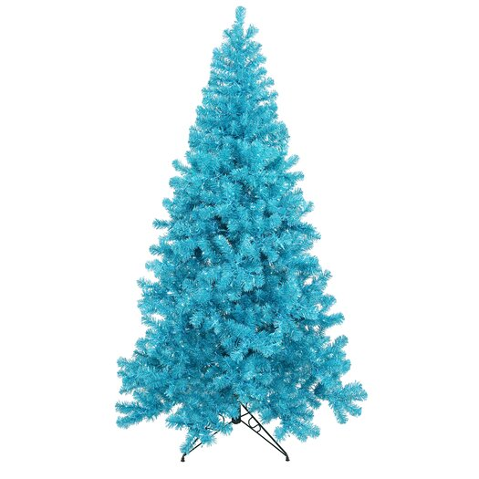 Vickerman Co. 8' Blue Artificial Christmas Tree with 600 Teal Mini Lights with Stand