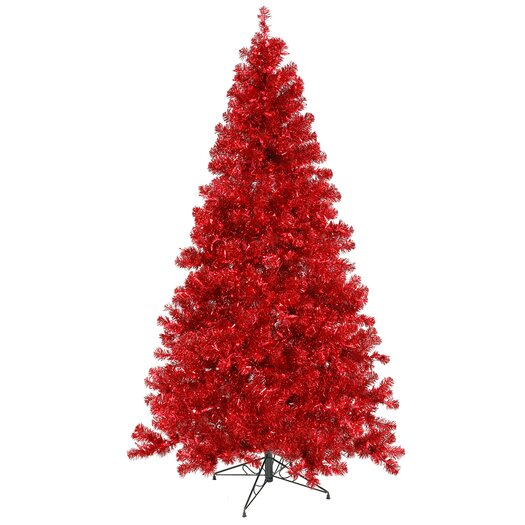 Vickerman Co. 8' Red Artificial Christmas Tree with 600 Red Mini Lights with Stand