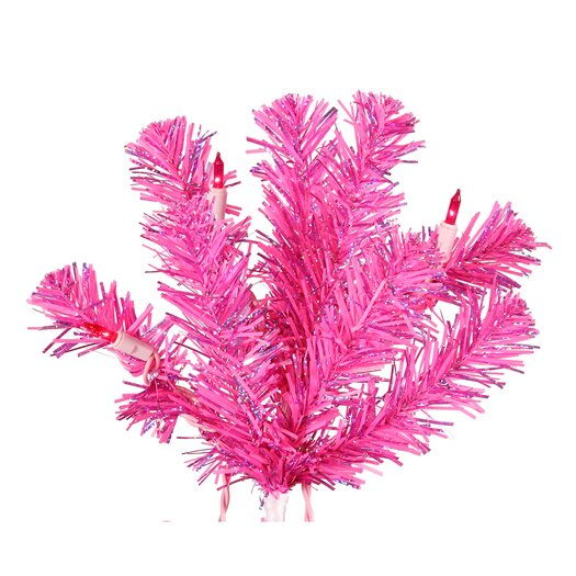 Vickerman Co. 7' Pink Artificial Christmas Tree with 500 Pink Mini Lights with Stand