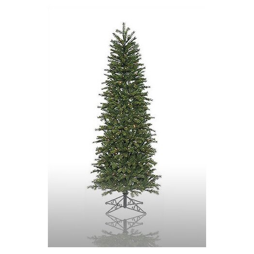 Vickerman Co. Redwood 7.5' Green Slim Artificial Christmas Tree with 300 Pre-Lit Multicolored Lights with Stand
